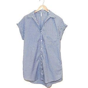 Zara TRF White and Blue Buttons down Shirt Dress